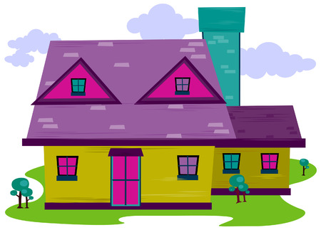 homes: Cartoon House with Clipping Path Illustration