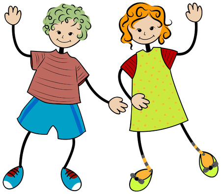 Happy Children with Clipping Path Stock Vector - 3826571