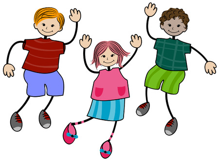 Happy Children with Clipping Path Vector