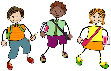 kid vector: Los ni�os en edad escolar con saturaci�n camino