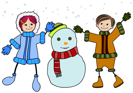 Children making Snowman with Clipping Path Vector