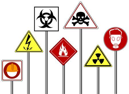 panneaux danger: Mise en garde  Danger Signs avec chemin de d�tourage Illustration