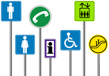 handicap sign: Mall  interior con signos de saturaci�n camino