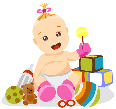Baby Girl with Clipping Path Stock Vector - 3851828