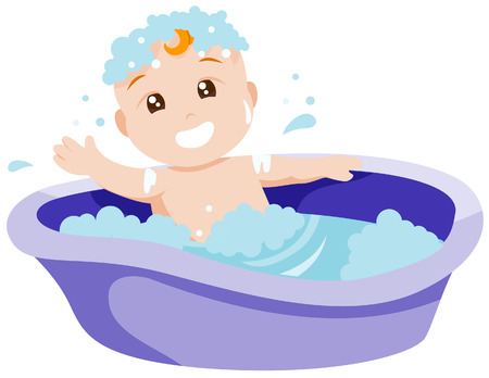 Baby Bath with Clipping Path Vector