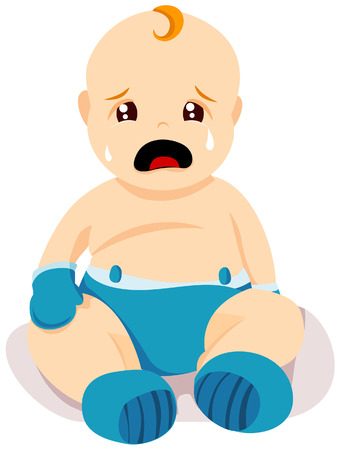 infants: Crying Baby with Clipping Path Illustration