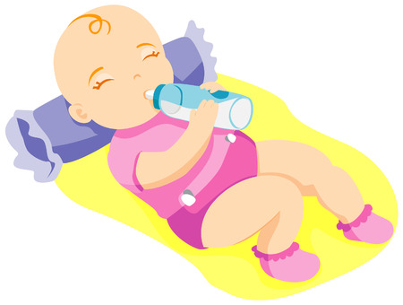 Baby Drinking Milk with Clipping Path Vector