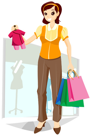 Shopping for Baby with Clipping Path Vector