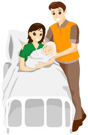 Padres con bebé recién nacido con saturación camino