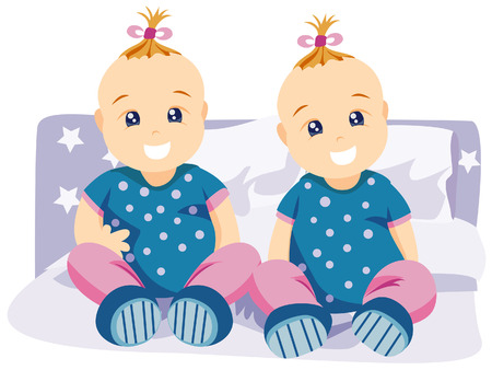 Twin Babies with Clipping Path Stock Vector - 3851836