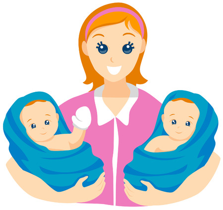 Twin Babies with Clipping Path Illustration