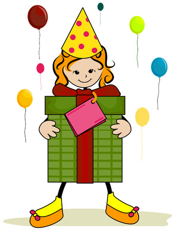 Birthday Girl with Clipping Path Vector