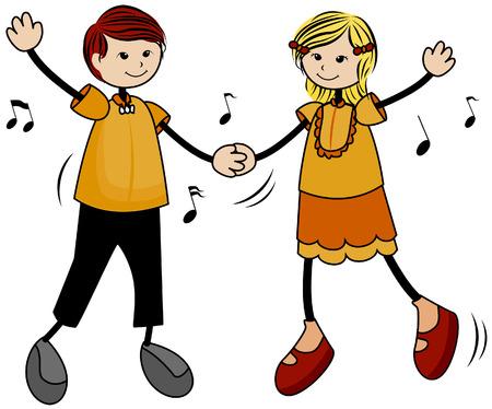 kid vector: Danzas ni�os con saturaci�n camino