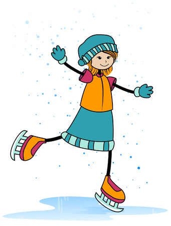 Ice Skating with Clipping Path Stock Vector - 3851839