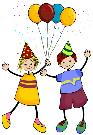 Birthday Kids with Clipping Path Stock Vector - 3851849
