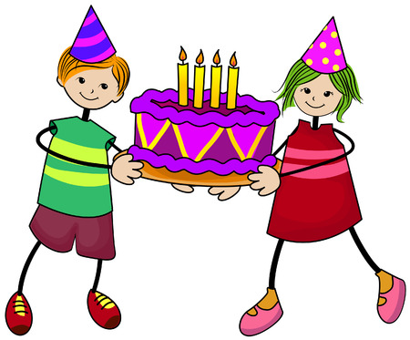 Birthday Kids with Clipping Path Vector