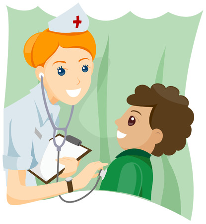 stethoscope boy: Boy at School Clinic with Clipping Path