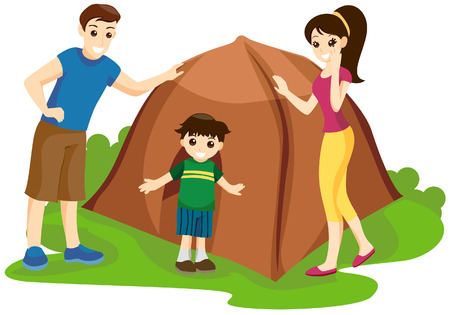 Family Camping with Clipping Path Vector