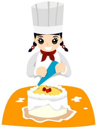 cake decorating: Chica con decoraci�n pastel saturaci�n camino Vectores