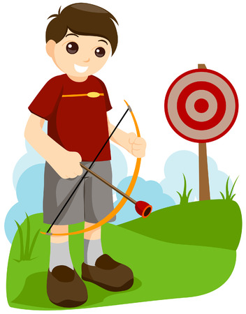 competitions: Boy playing Archery with Clipping Path