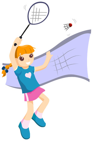 badminton: Girl Playing Badminton with Clipping Path Illustration