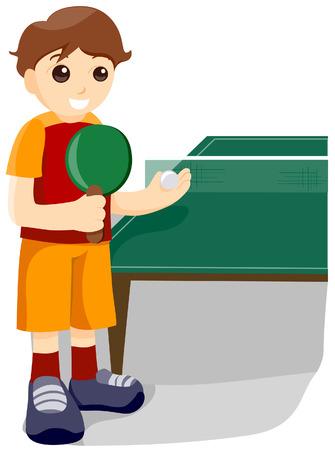 tennis de table: Tennis de Table avec un masque vectoriel Illustration