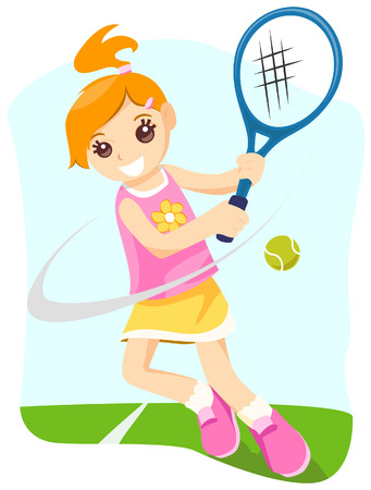 raquet: Girl Playing Tennis with Clipping Path Illustration