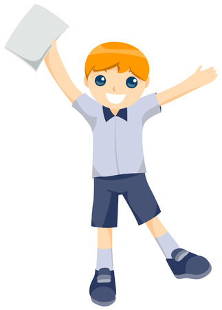 gradeschool: Boy holding blank report card with Clipping Path