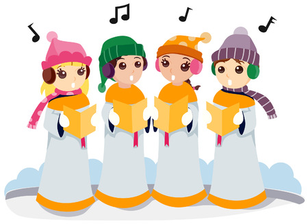 Kids singing Christmas Carols with Clipping Path Vector