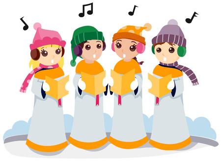 christmas carols: Kids singing Christmas Carols with Clipping Path