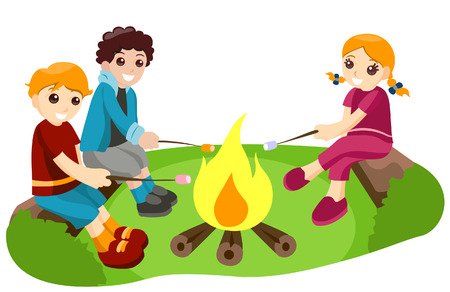 Toasting Marshmallows with Clipping Path Stock Vector - 3890853