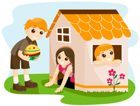 Children at the Playhouse with Clipping Path Vector