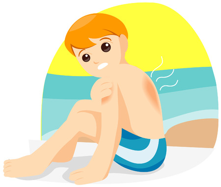 sunburn: Child with Sunburn with Clipping Path