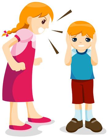 ruidoso: Chica gritando a hermano menor con el recorte camino Vectores