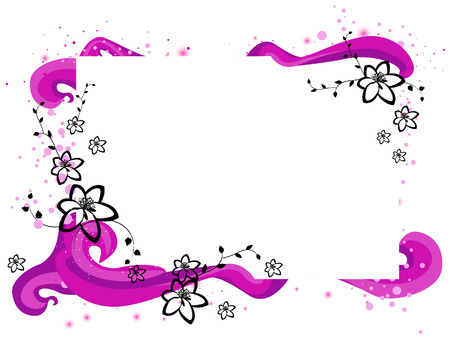 Floral Frame with Clipping Path Vector