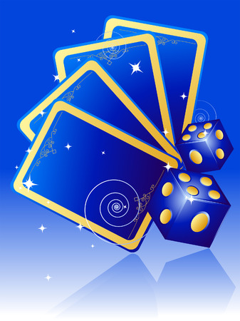 Cards and Dice against blue Background Stock Vector - 3894805