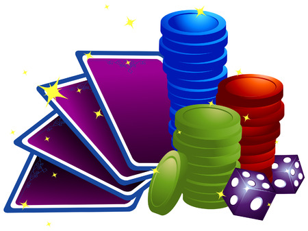 Cards, Chips and Dice with Clipping Path Vector