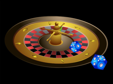 Roulette Illustration with 2 Dice Vector