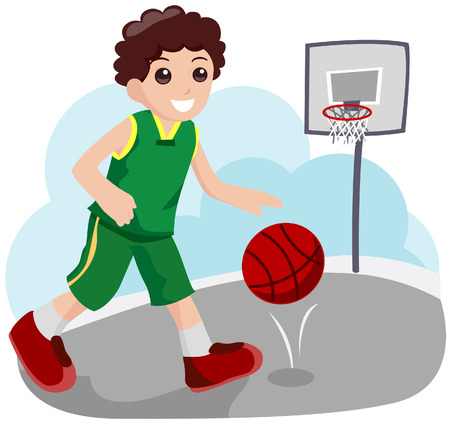 Child Basketball Player with Clipping Path Vector