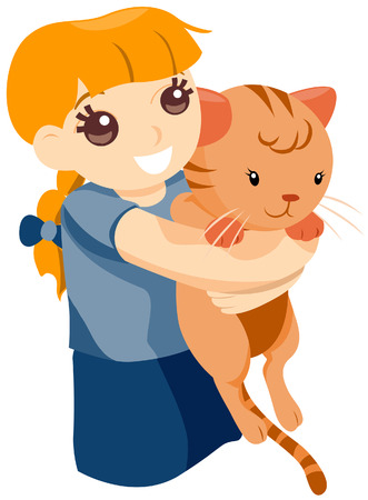 embracing: Child Hugging Pet Cat with Clipping Path Illustration