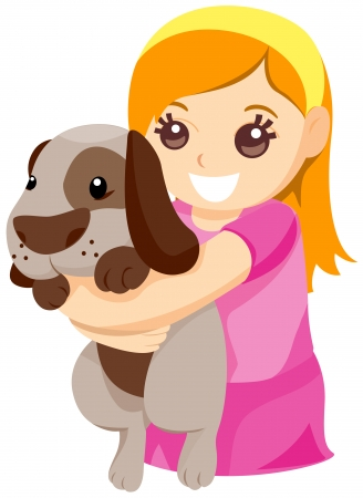 embracing: Child hugging Pet Dog with Clipping Path