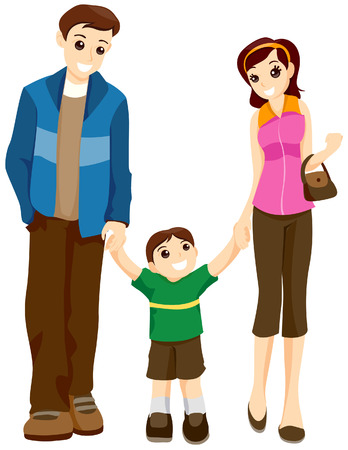 Child walking with Parents with Clipping Path