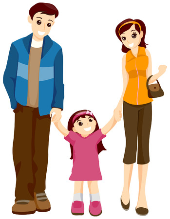 walking path: Child walking with Parents with Clipping Path