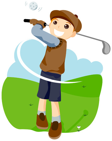 Playing Golf with Clipping Path Stock Vector - 3902731