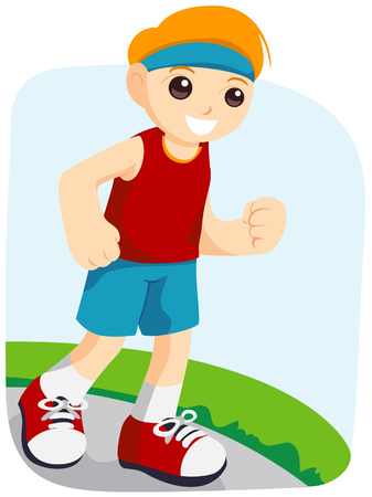 activity exercising: Boy Jogging with Clipping Path Illustration