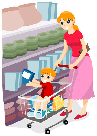 Child and Mother at the Groceries with Clipping Path Vector