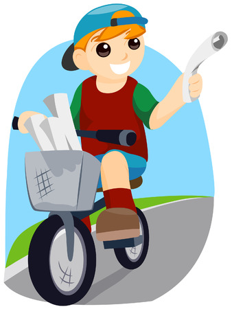 Newspaper Boy with Clipping Path