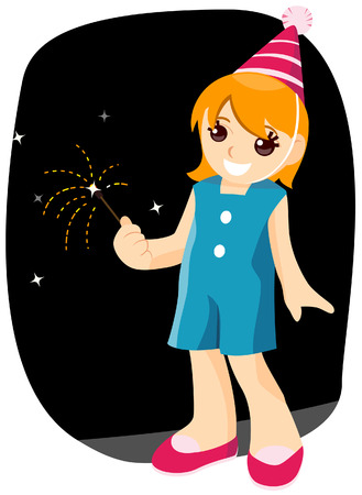 New Year Kid with Clipping Path Vector
