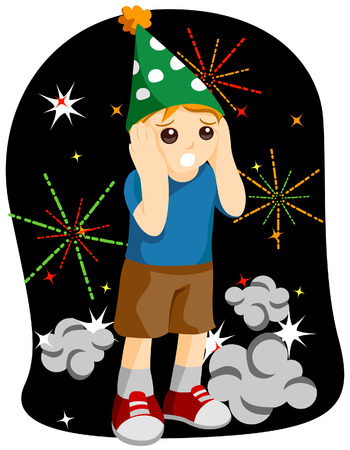 New Year Kid (scared of Fireworks) with Clipping Path Vector