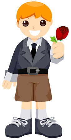 Boy Giving a Rose with Clipping Path Vector